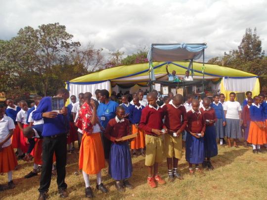 Gongali students turning ON the Solar Lanterns