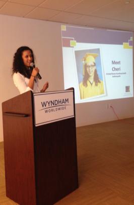 Cheri giving a presentation at Wyndham Worldwide