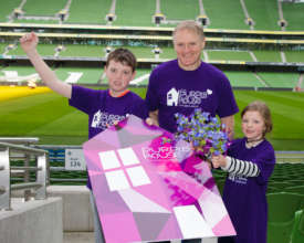 Dylan Lynch & his sister Emma with Joe Schmidt