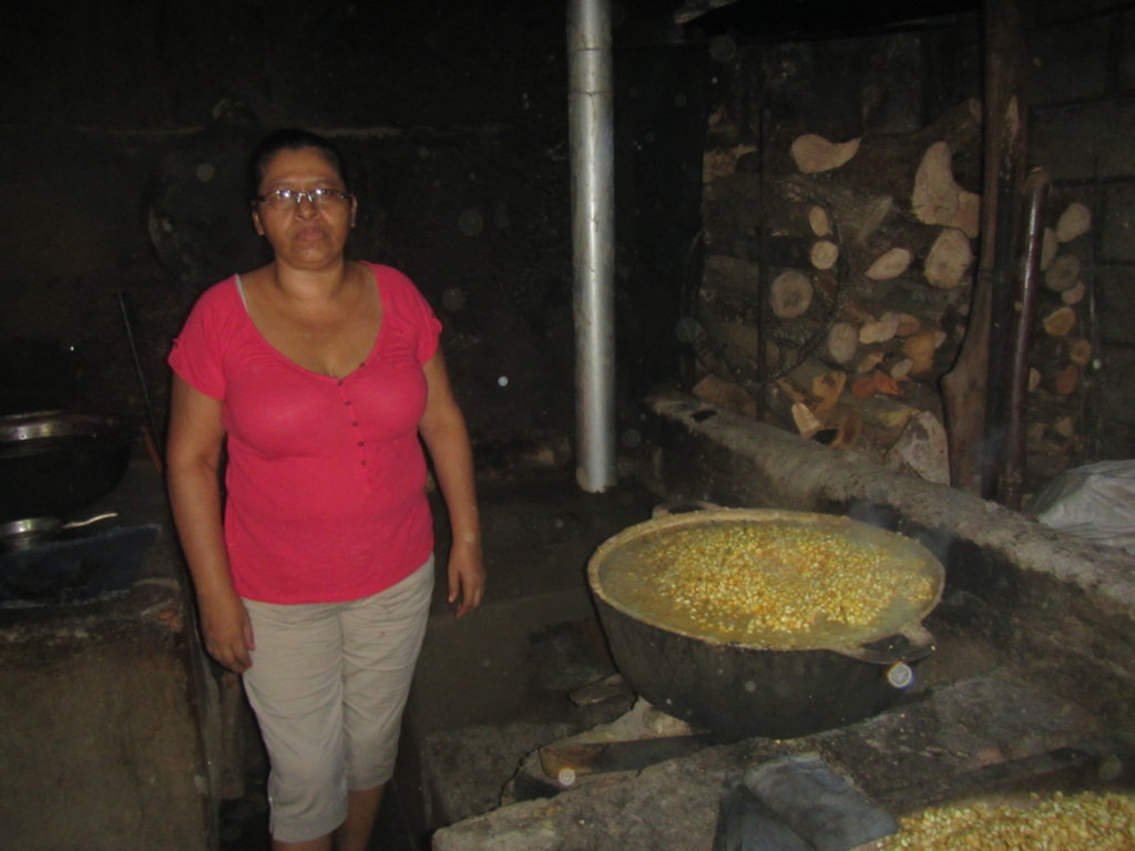 Nixtamal corn being cooked