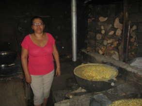 Nixtamal corn being cooked