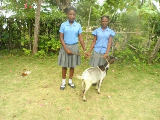 Dahana (left) shares the gift of a goat with Nancy