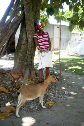 Rosemena with her goat in Morency