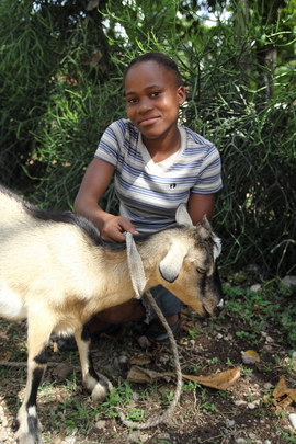 Fania and her goat in the school yard