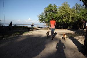 Manoucha walks home in Crabier, a seaside village