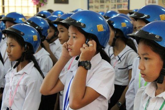 Students wear their new Safety Delivered helmets.