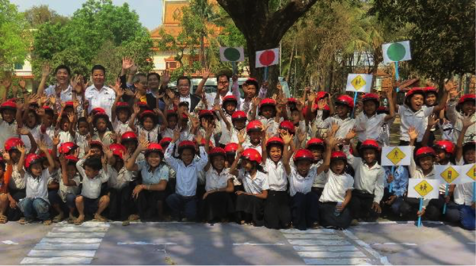 Students celebrate a day of road safety lessons