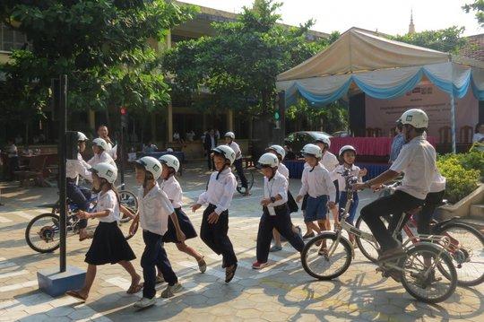 Students practice safe road behaviors