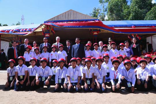 Helmet handover at Tuol Svay Prey Primary School