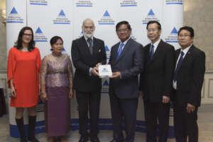 Prince Michael awards Cambodia's government.