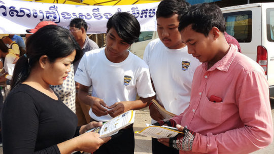 Road users receive education before Khmer New year