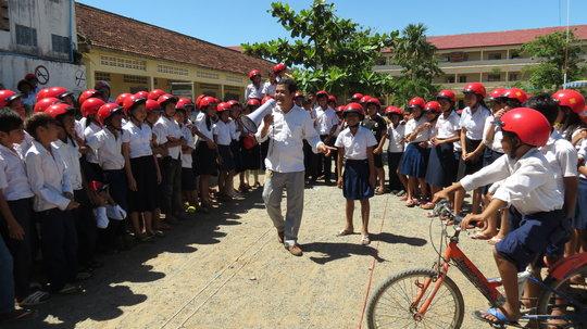 Students practice safe road behavior at school