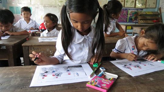 Students draw pictures of road safety