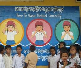 Road safety mural shows how to wear a helmet