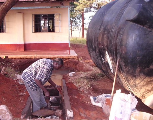 Construction of the base for water tank