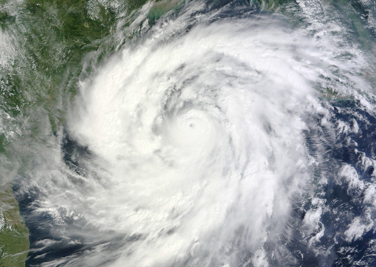Satellite image of Cyclone Phailin approaching
