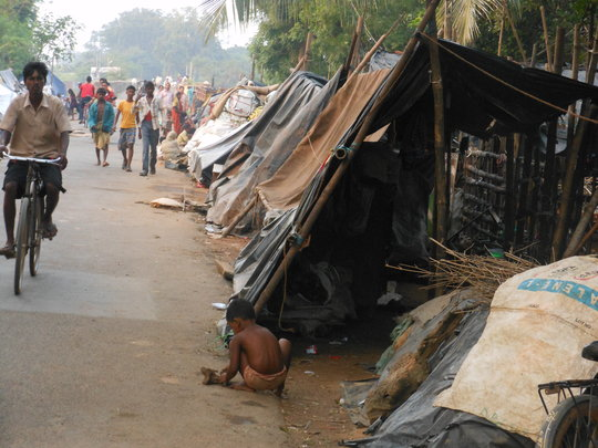 Displaced peoples in their roadside camps