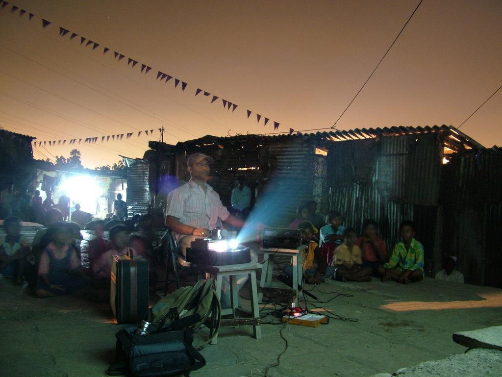a screening in a slum