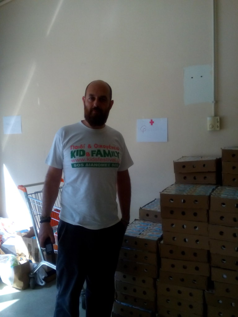 products for refugees in the Olympic Stadium
