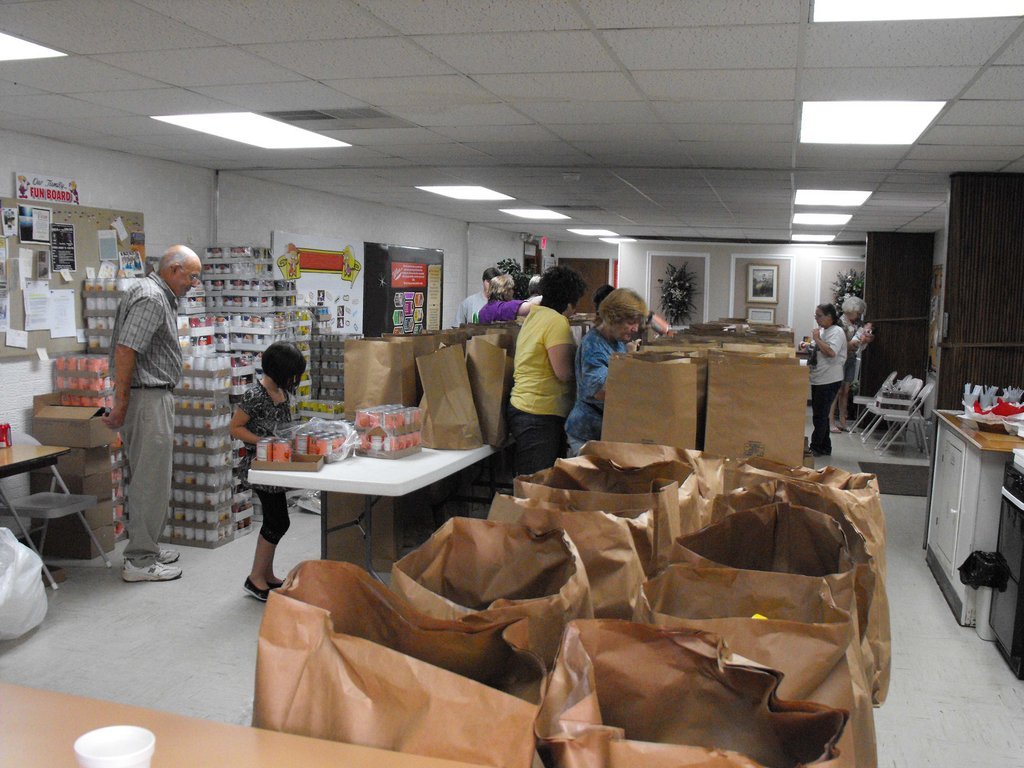 Preparing relief food - packages for kids