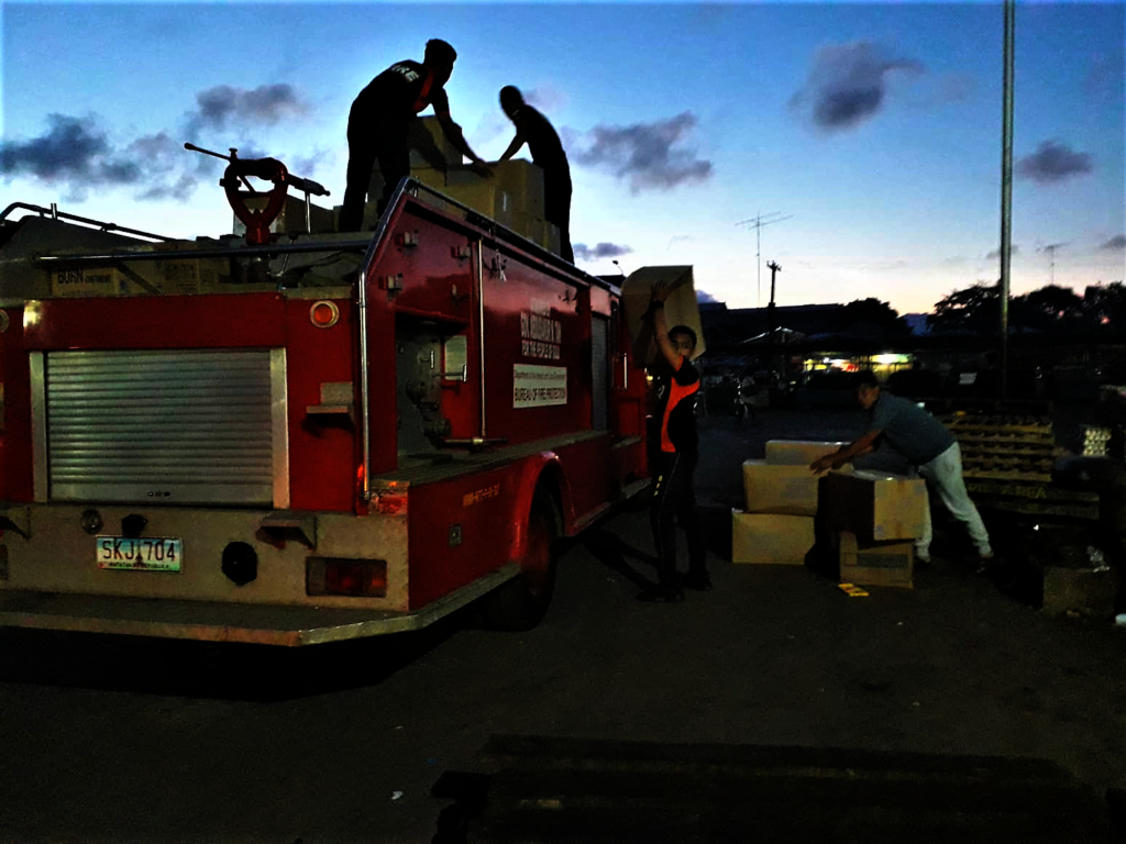 Firefighters arrive early to transport donations