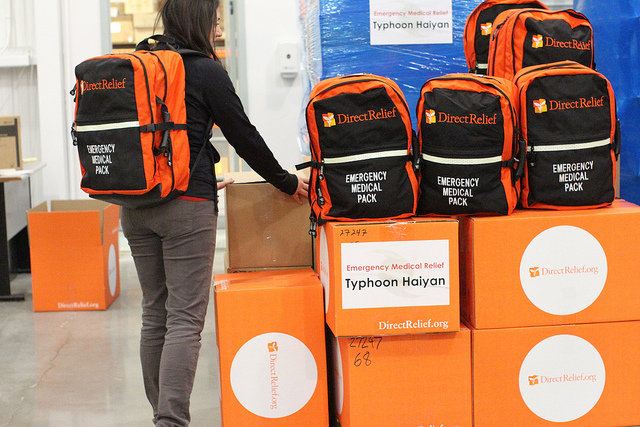 Med packs for typhoon packed by Direct Rielief