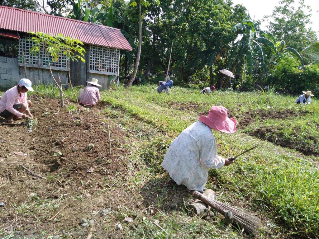 Parents working in the school garden