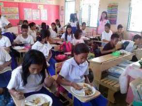 Eating in Class at Angub Elementary