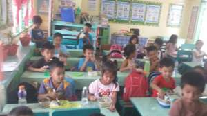 Eating lunch in classroom as a family