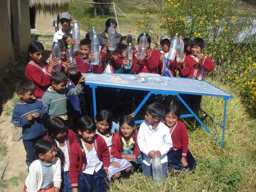 School kids with safe drinking water