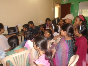 Children  learning with the help of computer