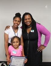 Bontu, her sister, and LAYC staff Andrea Thomas.
