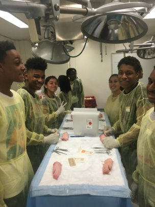 Students learning suturing.