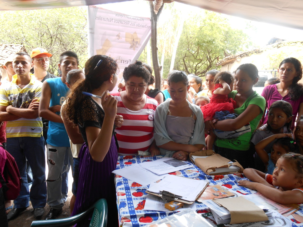 Families signing up for their improved cookstoves