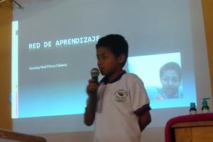 Noe Estanley, 5th grade, presents his PLE