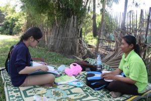 Pharady with volunteer Chhav Sokhey in Prey Kuy