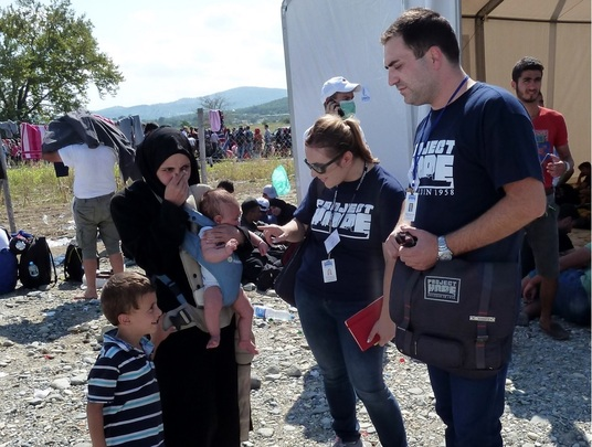 Project HOPE visiting a refugee camp in Gevgelija
