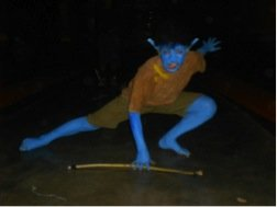Student dressed as a blue alien!
