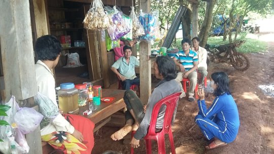 Villagers gathered at the shop