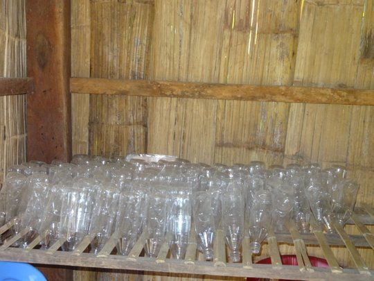 Fish sauce bottles washed and dried for filling