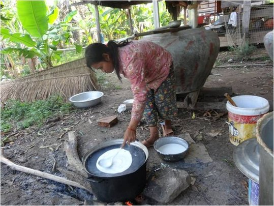 Mrs. Channy's daughter producing local noodle