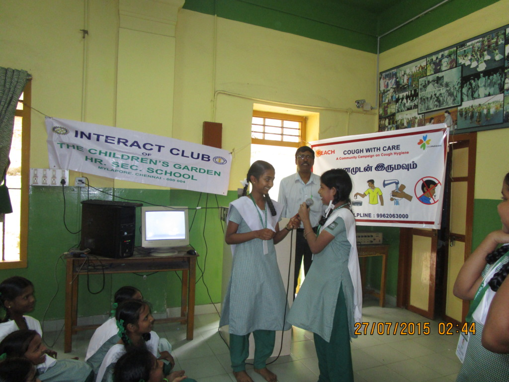 Skit by students on cough hygiene