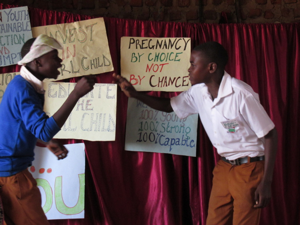 Student acting a skit on HIV/AIDS