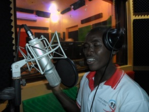 Young people in studio when recording CFYDDI song