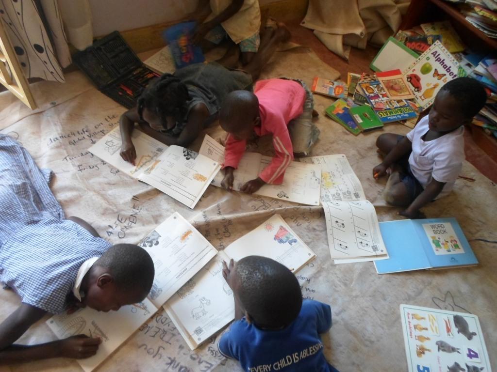 Children inside the library