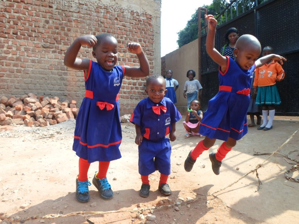 Children play after a learning break