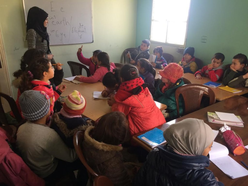 A classroom for Syrian refugee children in Lebanon