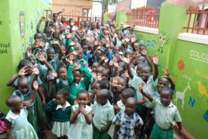 Excitement of children during the assembly .