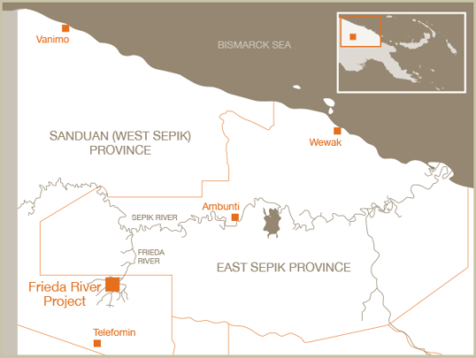 Map showing the location of Freida Mine
