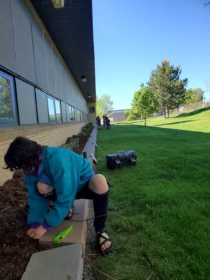 Ava, Vista Volunteer irrigating Edgewater Elem